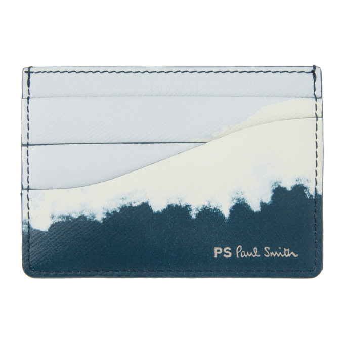 Photo: PS by Paul Smith Blue Tie-Dye Card Holder