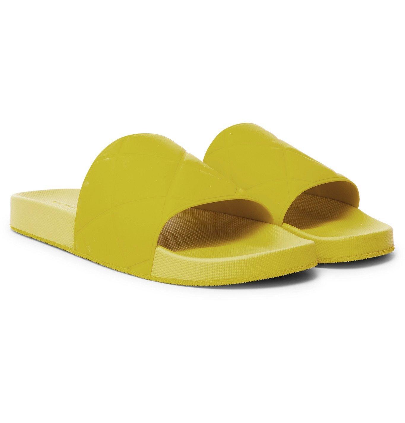 Photo: Bottega Veneta - Intrecciato Rubber Slides - Yellow