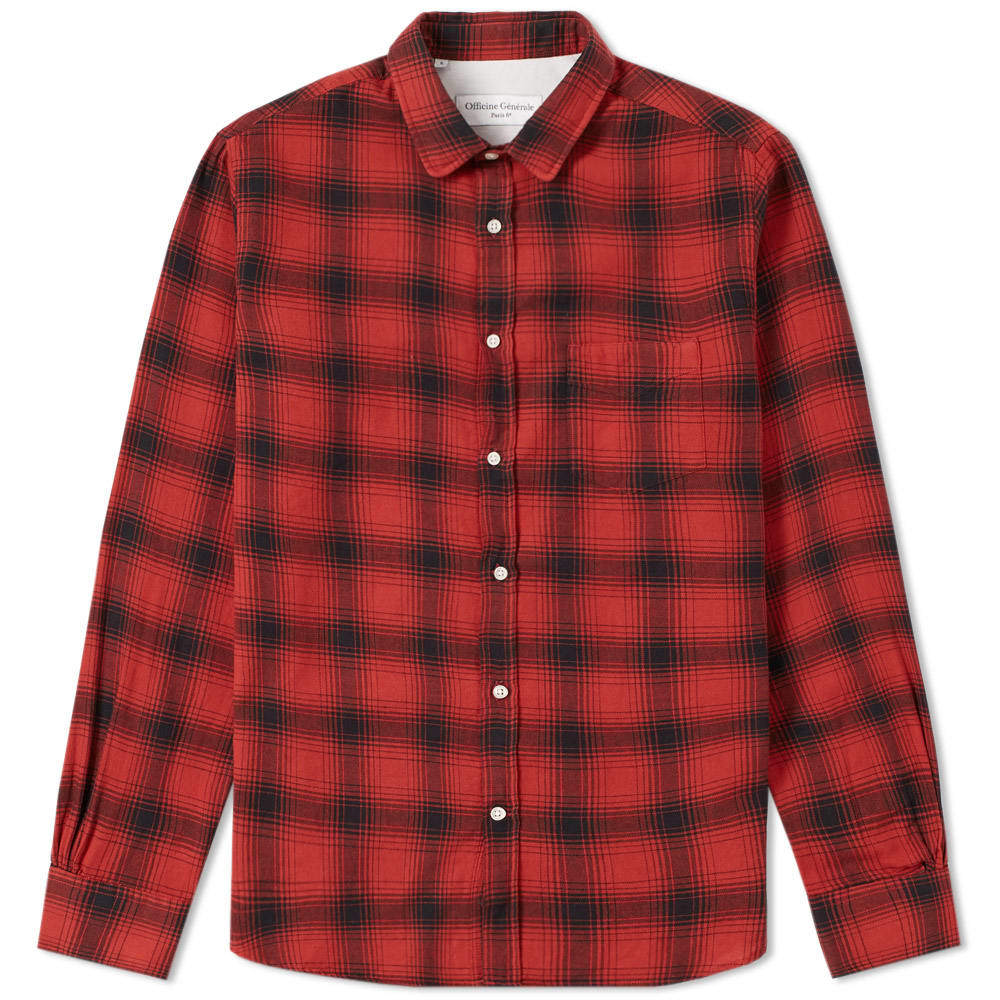 Photo: Officine Generale Flannel Check Shirt Red