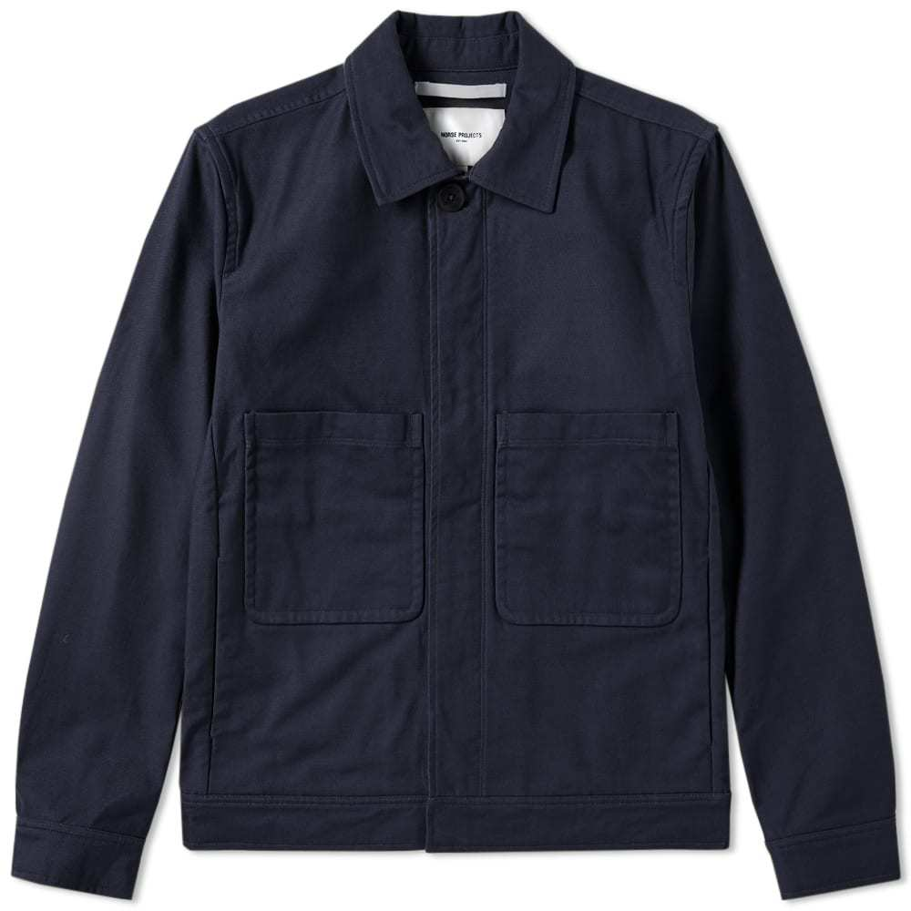 Photo: Norse Projects Tyge Broken Twill Jacket Blue