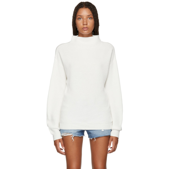 Photo: Won Hundred White Catharine Mock Neck Sweater