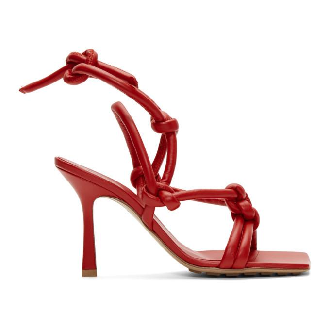 Photo: Bottega Veneta Red Stretch Heeled Sandals