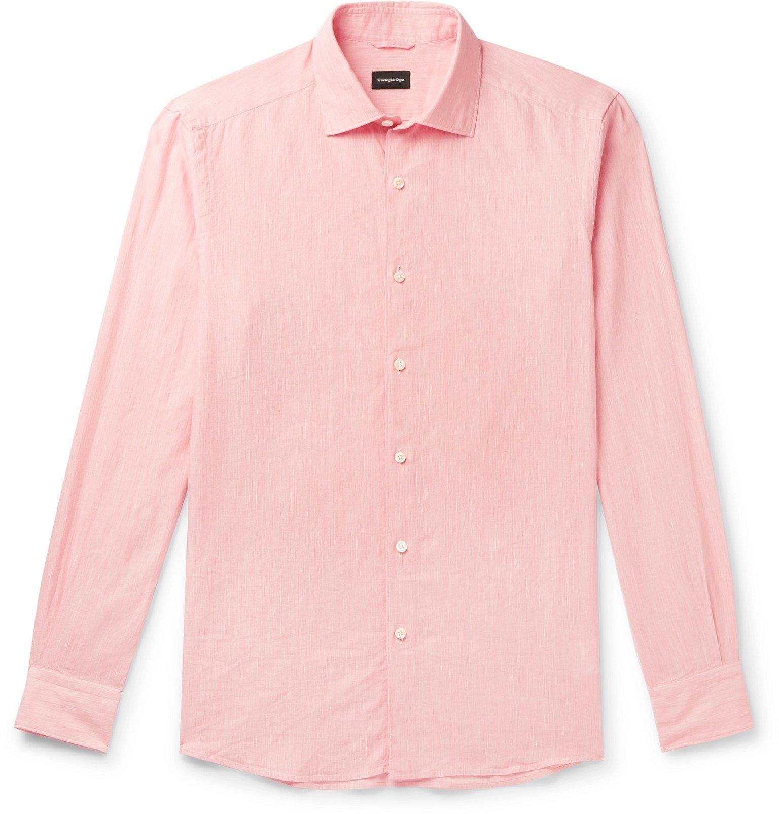 Photo: Ermenegildo Zegna - Slub Linen and Cotton-Blend Shirt - Pink