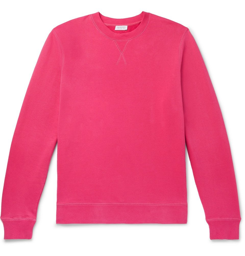 Sunspel - Slim-Fit Loopback Cotton-Jersey Sweatshirt - Pink