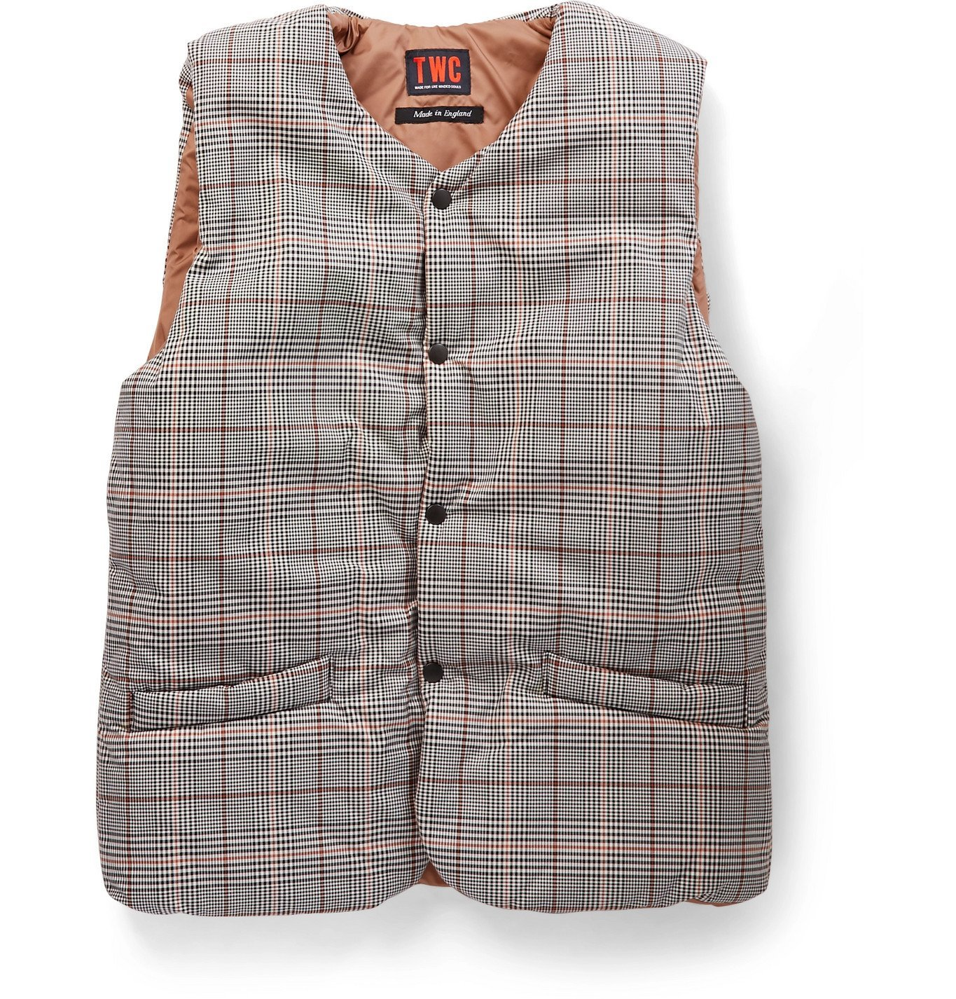Photo: The Workers Club - Checked Padded Cotton-Twill and Shell Gilet - Gray