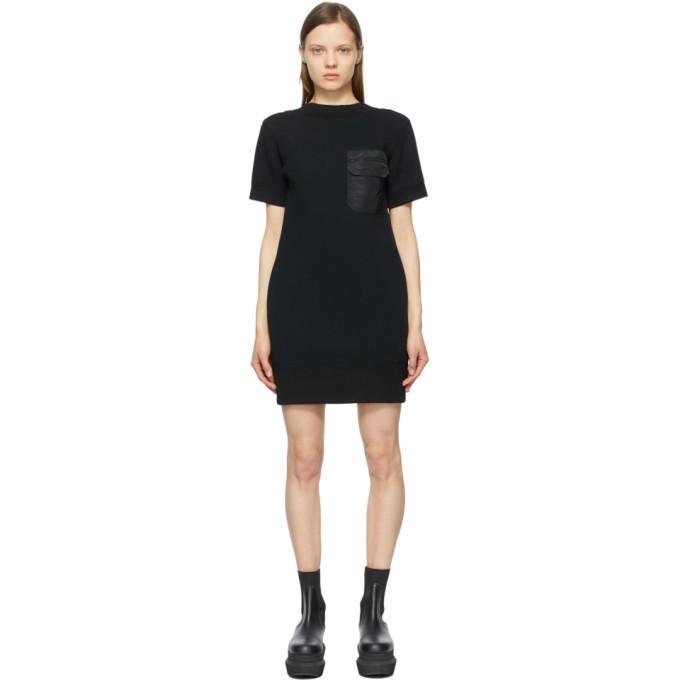 Sacai Black Open Back Sponge Sweat T-Shirt Dress