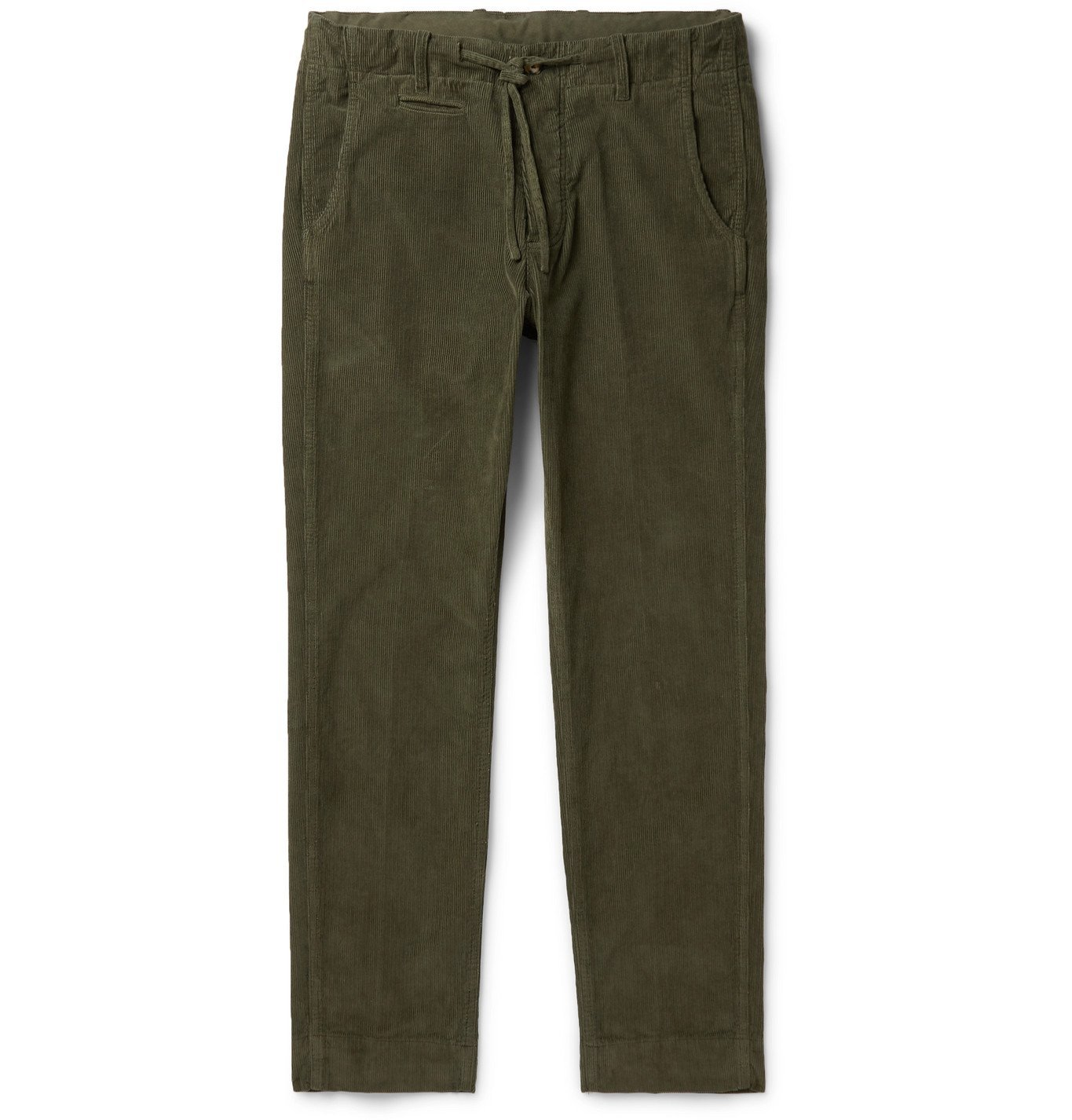 Photo: MAN 1924 - Tomi Slim-Fit Tapered Cotton-Corduroy Drawstring Trousers - Green
