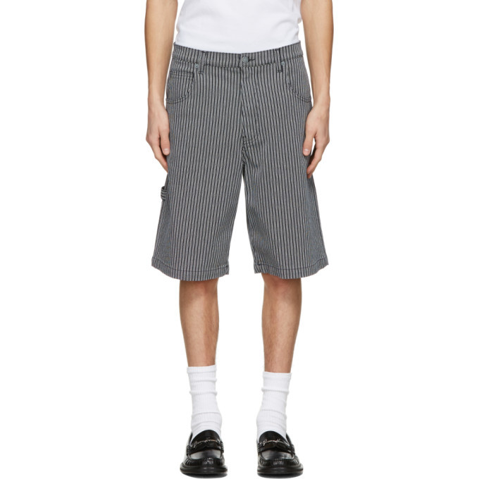 Photo: Moschino Navy and White Denim Striped Shorts