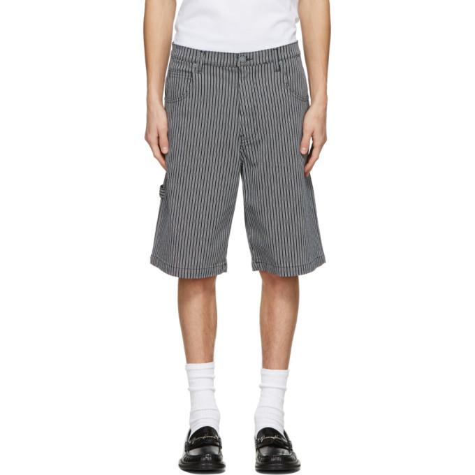 Photo: Moschino Navy and White Denim Striped Shorts