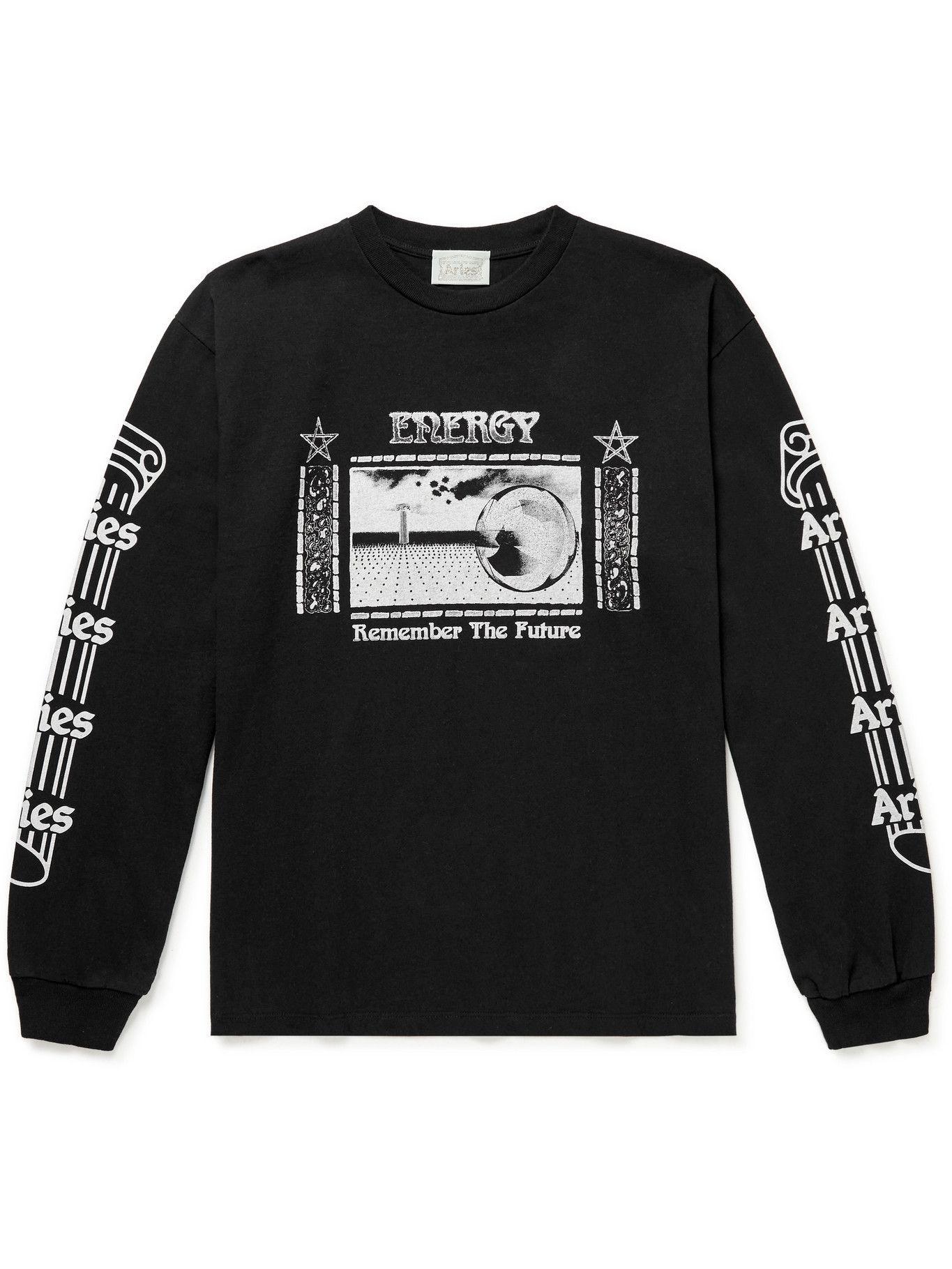 Photo: Aries - Energy Logo-Print Cotton-Jersey T-Shirt - Black