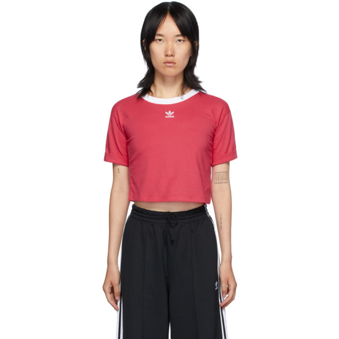 Photo: adidas Originals Pink Logo Crop T-Shirt