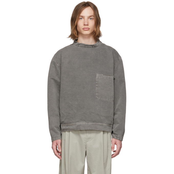 Lemaire Grey Stand Collar Shirt