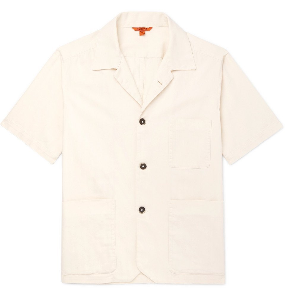 Photo: Barena - Camp-Collar Herringbone Cotton Shirt - Cream
