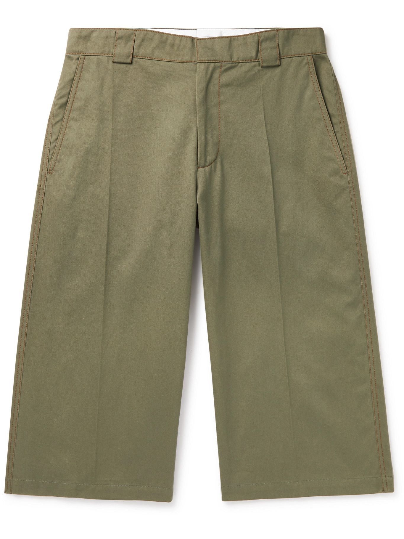 Photo: JW Anderson - Logo-Embroidered Cotton-Twill Shorts - Green