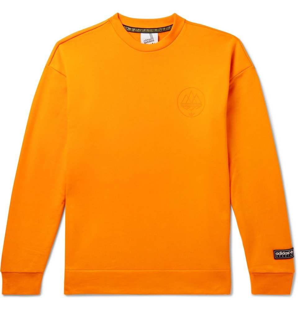 Photo: adidas Consortium - SPEZIAL Logo-Flocked Loopback Cotton-Jersey Sweatshirt - Orange