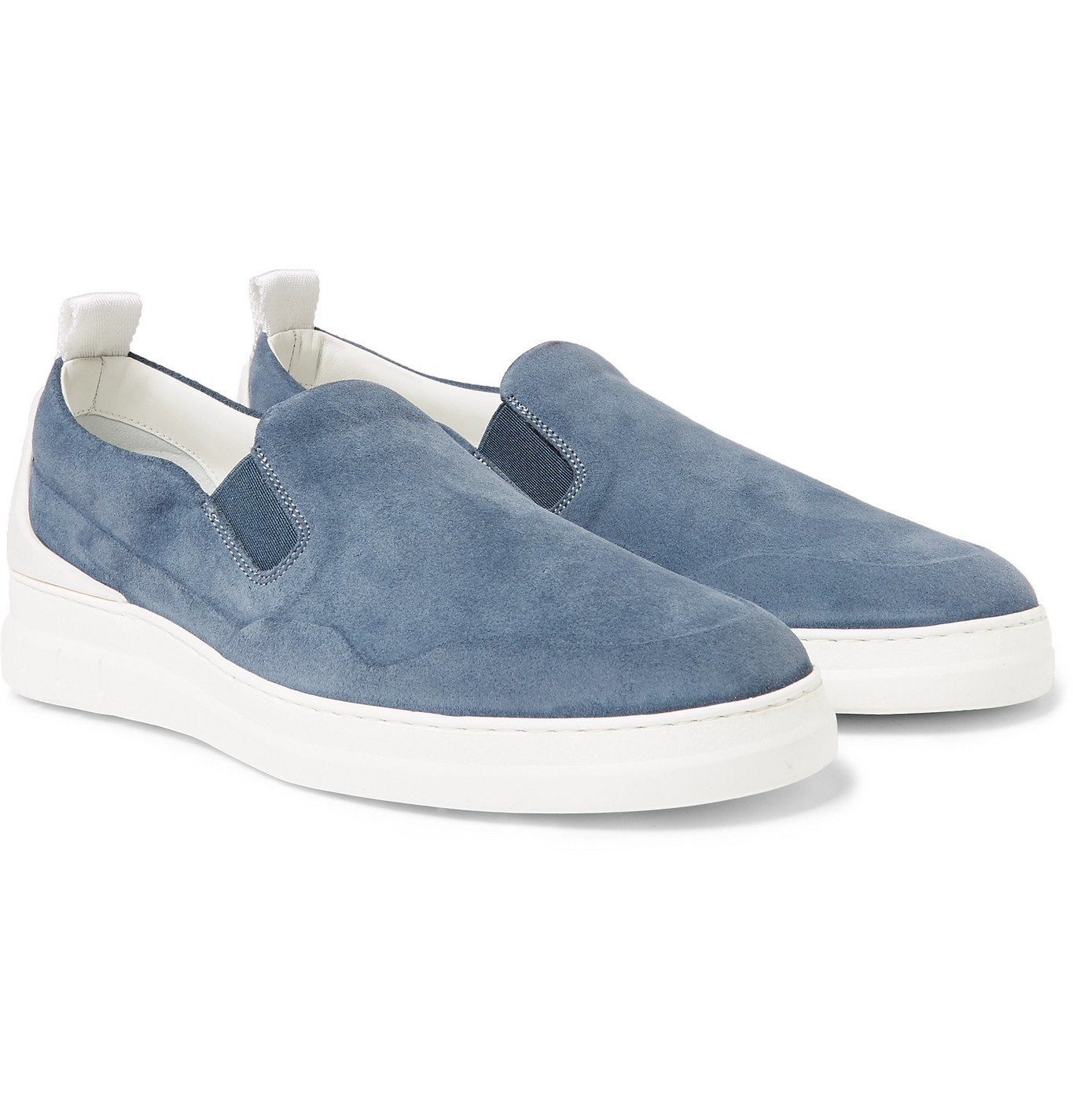 Photo: Dunhill - Radial Spoiler Suede Slip-On Sneakers - Blue