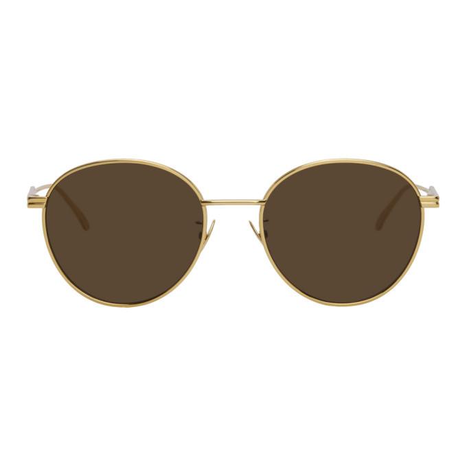 Photo: Bottega Veneta Gold Round Sunglasses