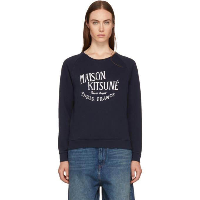 Photo: Maison Kitsune Navy Palais Royal Logo Sweatshirt