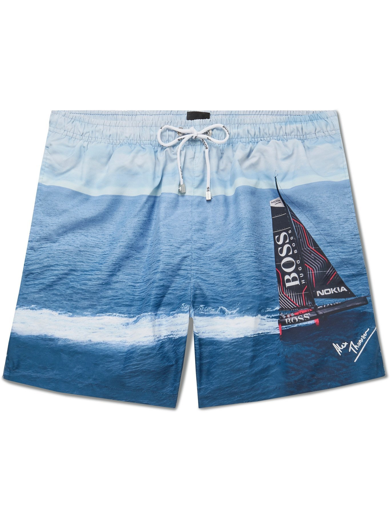 HUGO BOSS - Mid-Length Printed SEAQUAL Swim Shorts - Blue - S