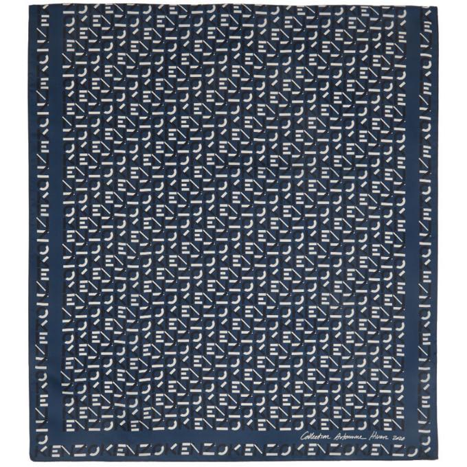 Photo: Kenzo Blue Silk Monogram Scarf