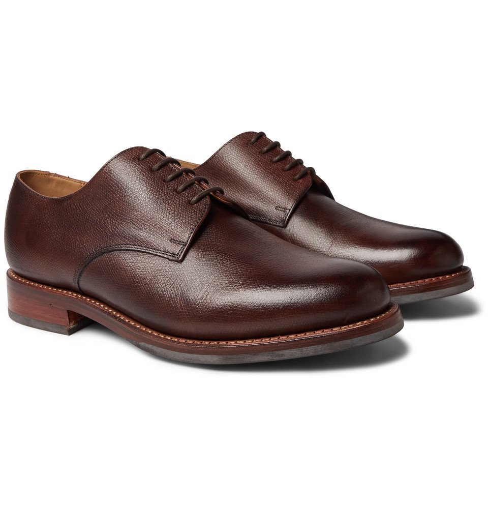 Photo: Grenson - Curt Hand-Painted Full-Grain Leather Derby Shoes - Dark brown