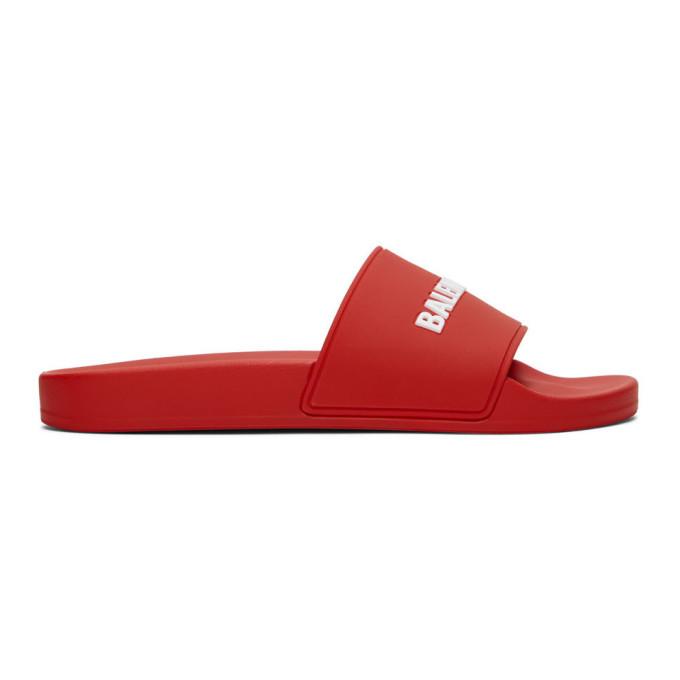 Photo: Balenciaga Red Logo Pool Slides