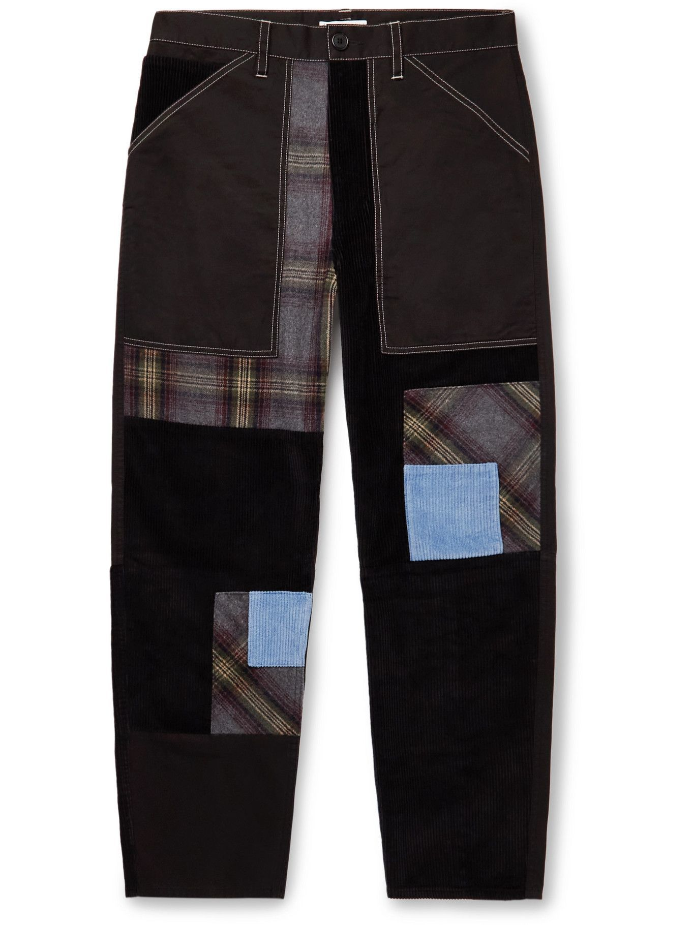 Photo: JW Anderson - Embroidered Patchwork Cotton-Twill, Flannel and Corduroy Trousers - Black