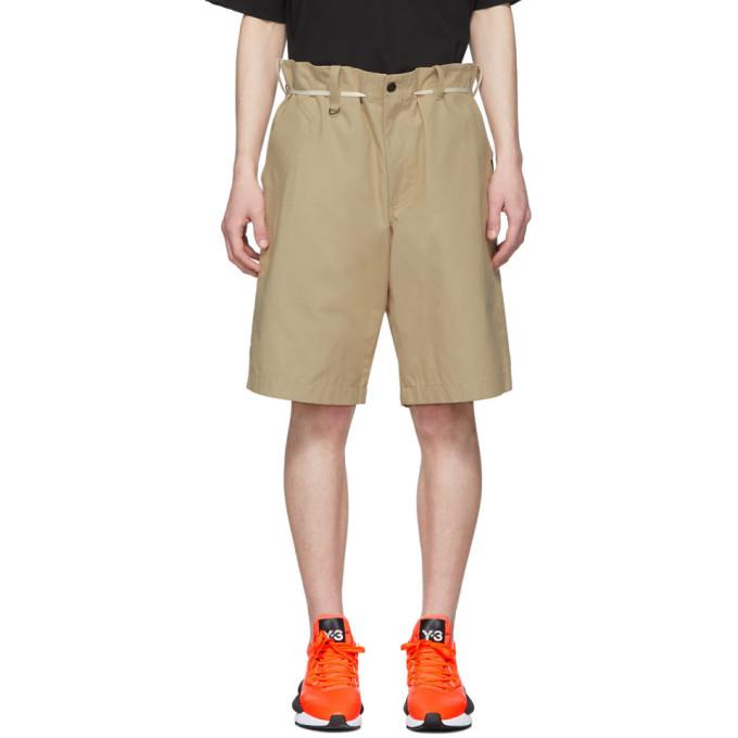 Photo: Y-3 Khaki Canvas Workwear Shorts