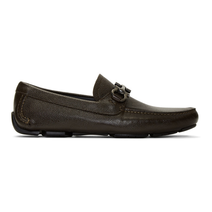Photo: Salvatore Ferragamo Brown Gancini Driver Moccasin Loafers
