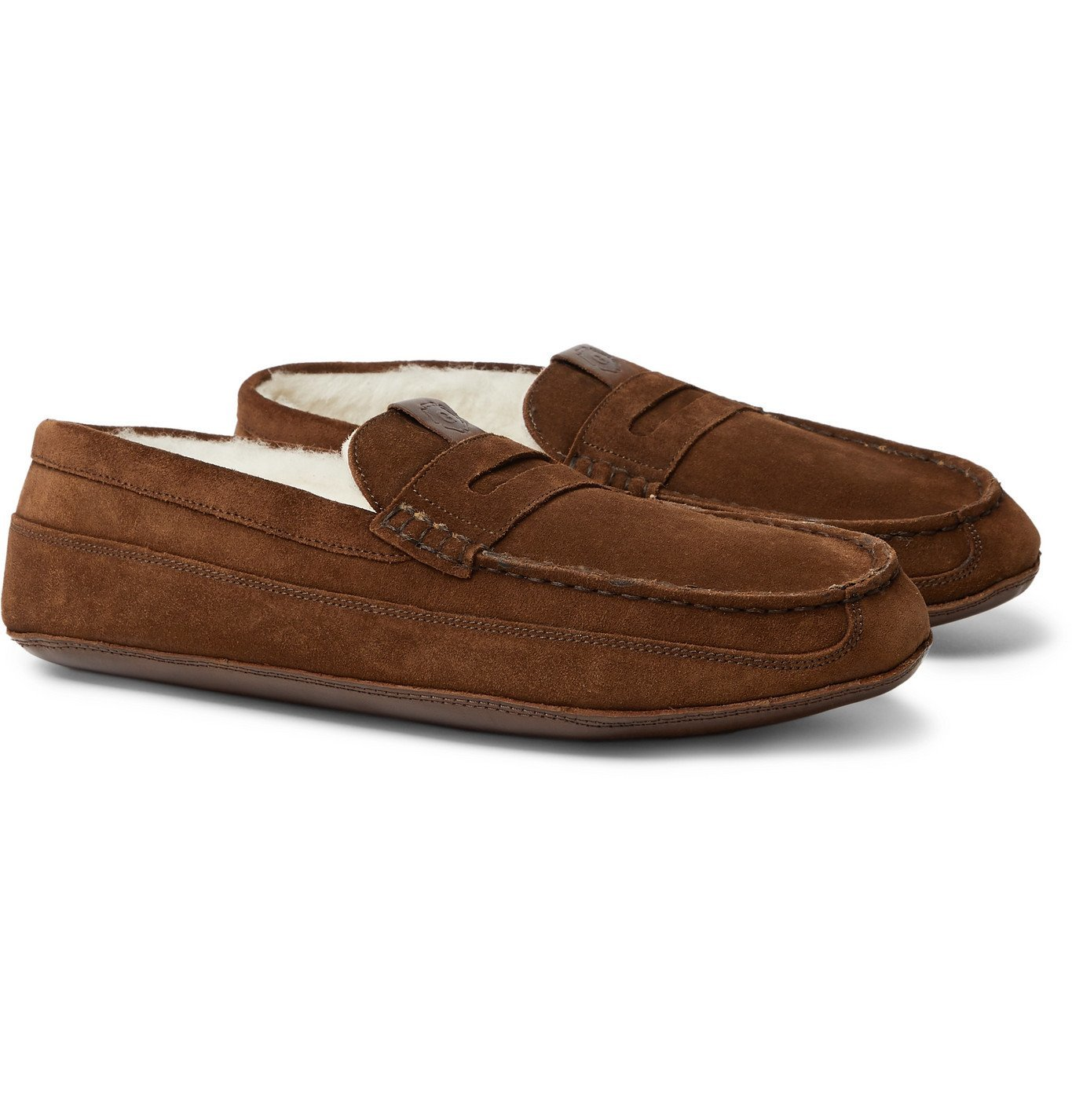 Photo: Grenson - Sly Shearling-Lined Suede Slippers - Brown