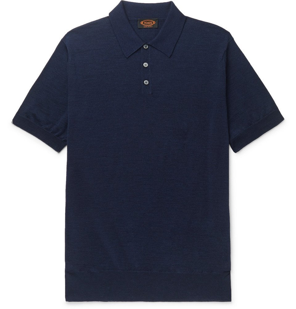 Photo: Tod's - Merino Wool and Silk-Blend Polo Shirt - Navy