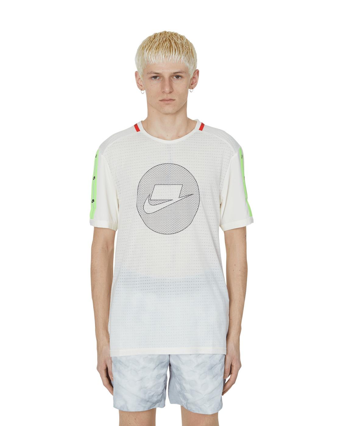 Nike Running Wild Run T Shirt Pale Ivory/Electric Green