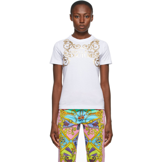 Photo: Versace Jeans Couture White Institutional Logo T-Shirt