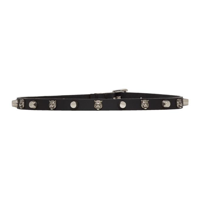 Photo: Gucci Black Studded Feline Head Necklace