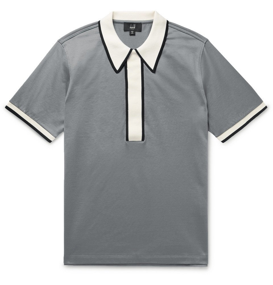 Dunhill - Contrast-Trimmed Cotton-Jersey Polo Shirt - Men - Gray