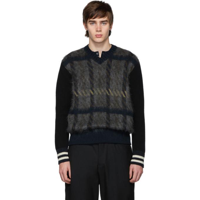 Photo: Junya Watanabe Grey and Black Wool Check V-Neck Sweater