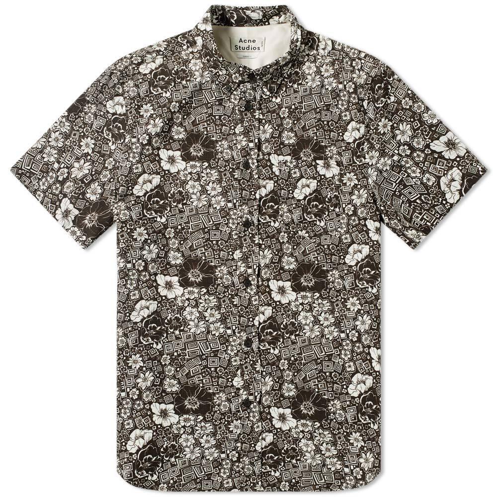 Acne Studios Isherwood Floral Short Sleeve Shirt Dark Brown & White