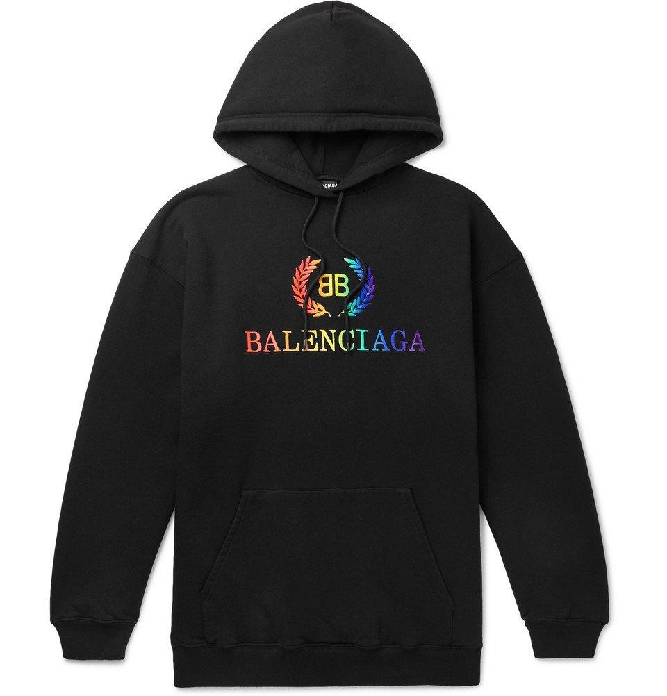 Photo: Balenciaga - Oversized Logo-Embroidered Loopback Cotton-Jersey Hoodie - Black