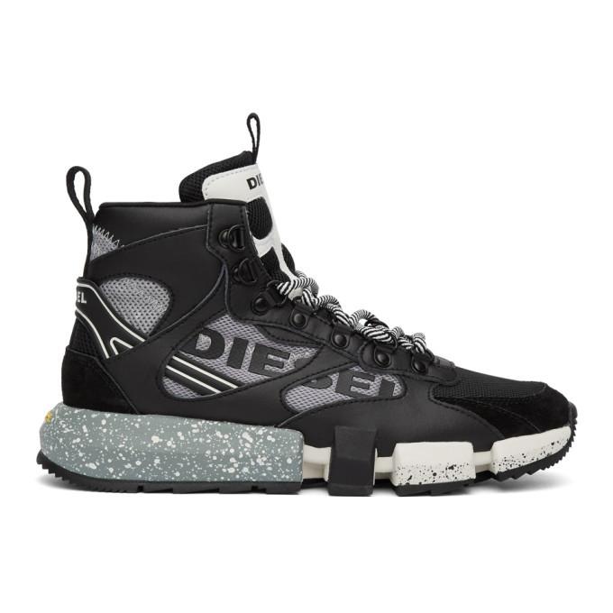 Photo: Diesel Black and Grey S-Padola Mid Trek Sneakers