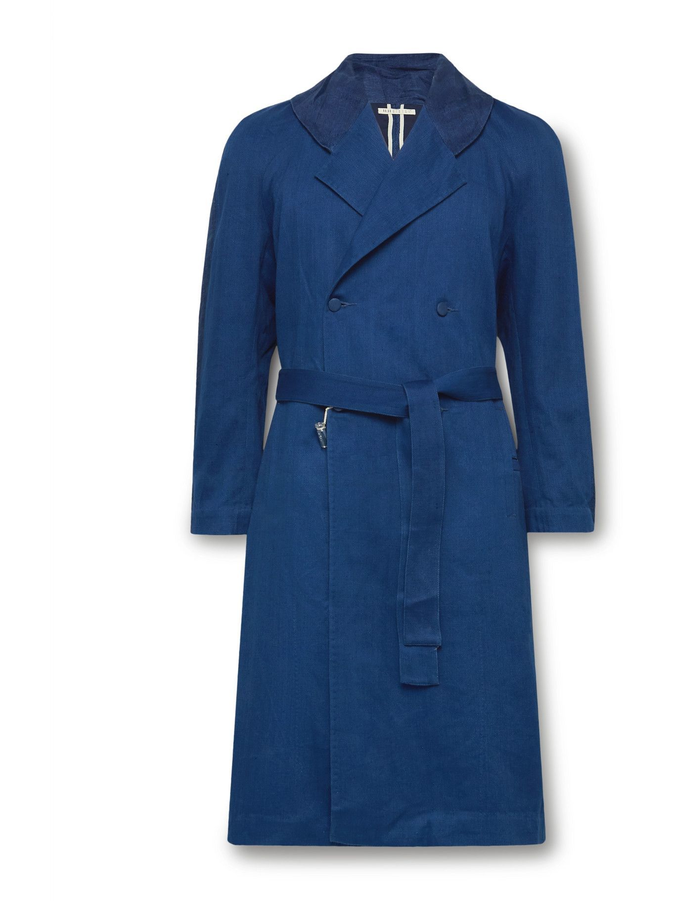 Photo: 11.11/eleven eleven - Indigo-Dyed Organic Linen and Cotton-Blend Trench Coat - Blue