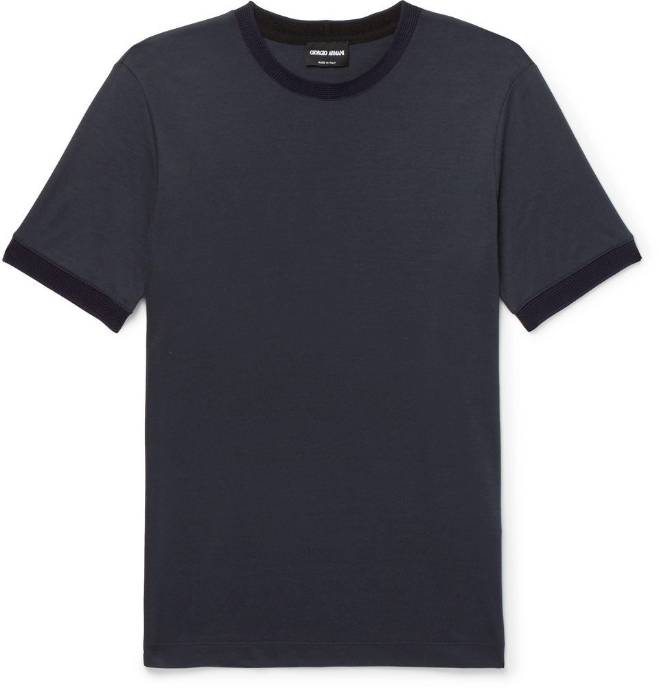 Giorgio Armani - Slim-Fit Contrast-Trimmed Jersey T-Shirt - Navy