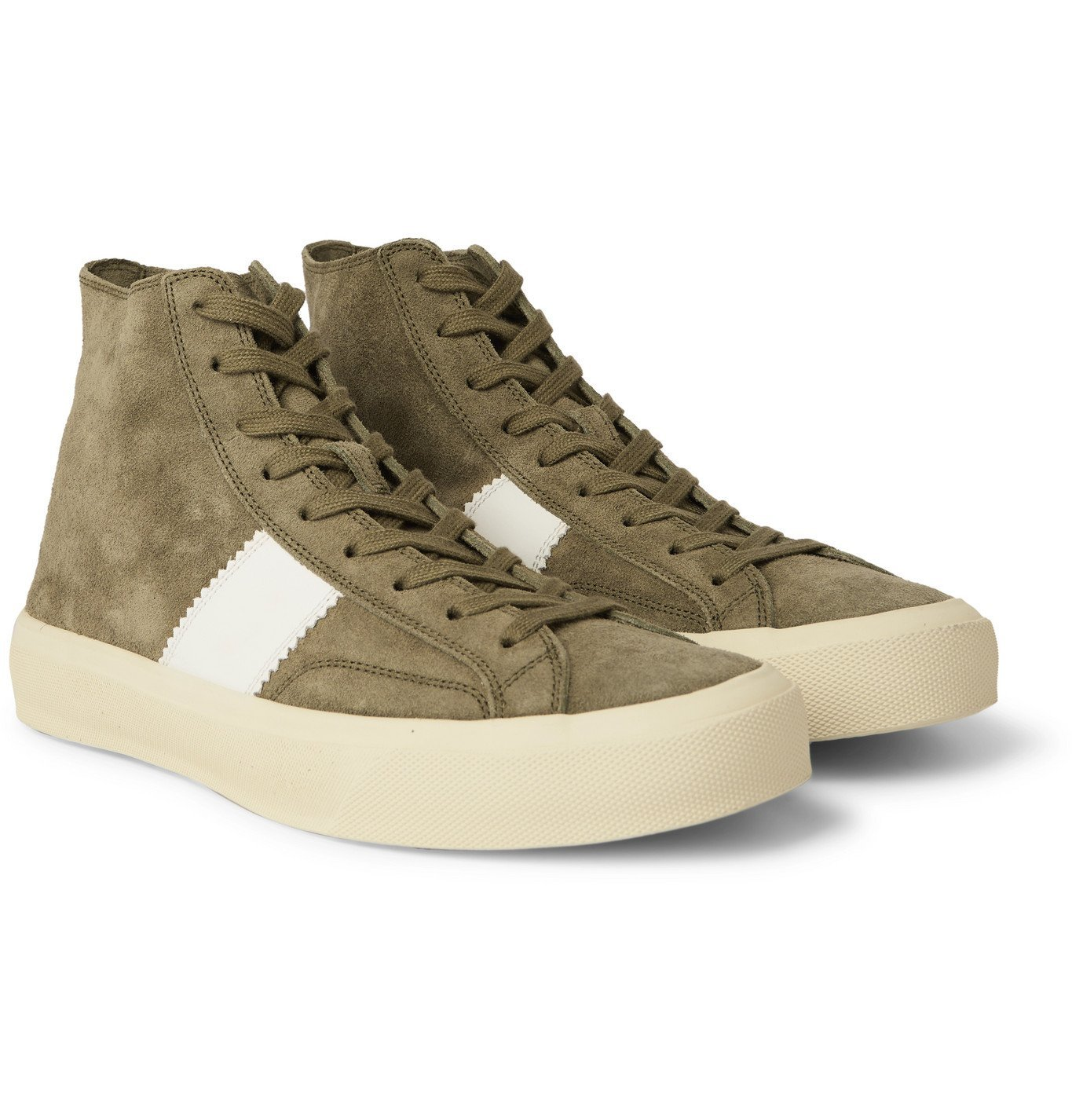 Photo: TOM FORD - Cambridge Leather-Trimmed Suede High Top Sneakers - Green