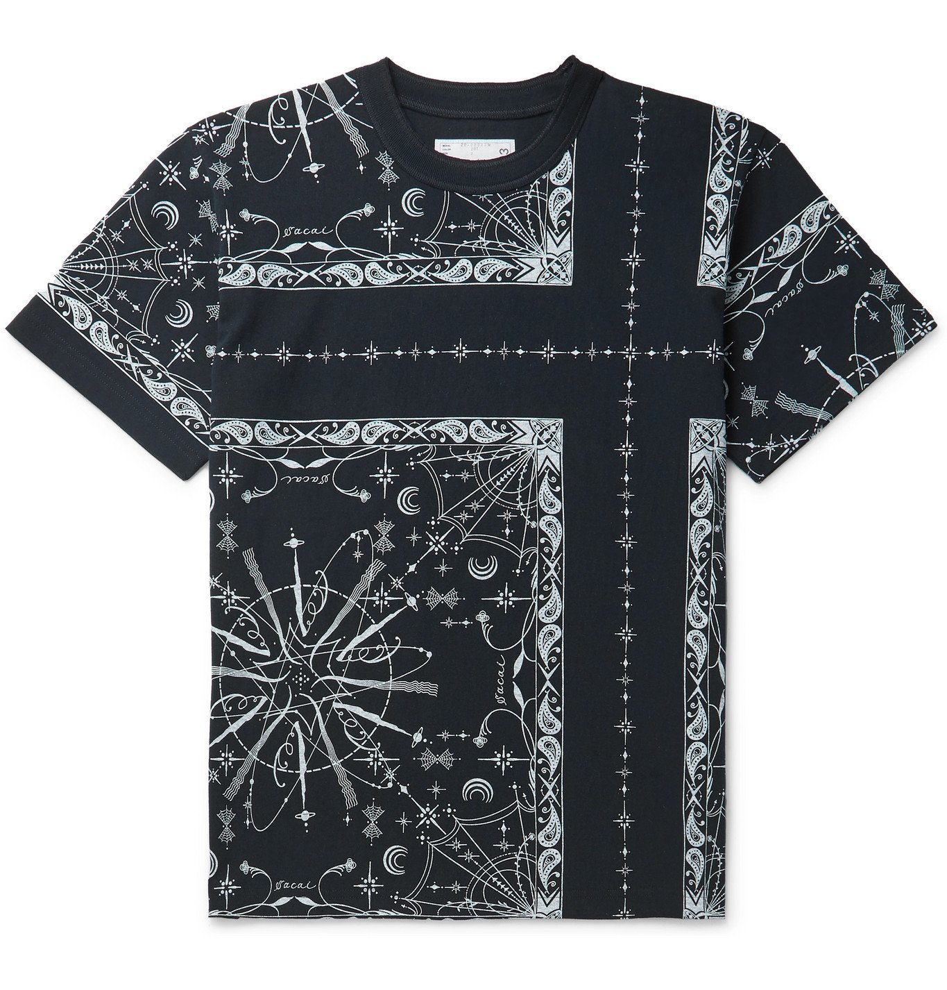 Sacai - Dr. Woo Bandana-Print Cotton-Jersey T-Shirt - Blue