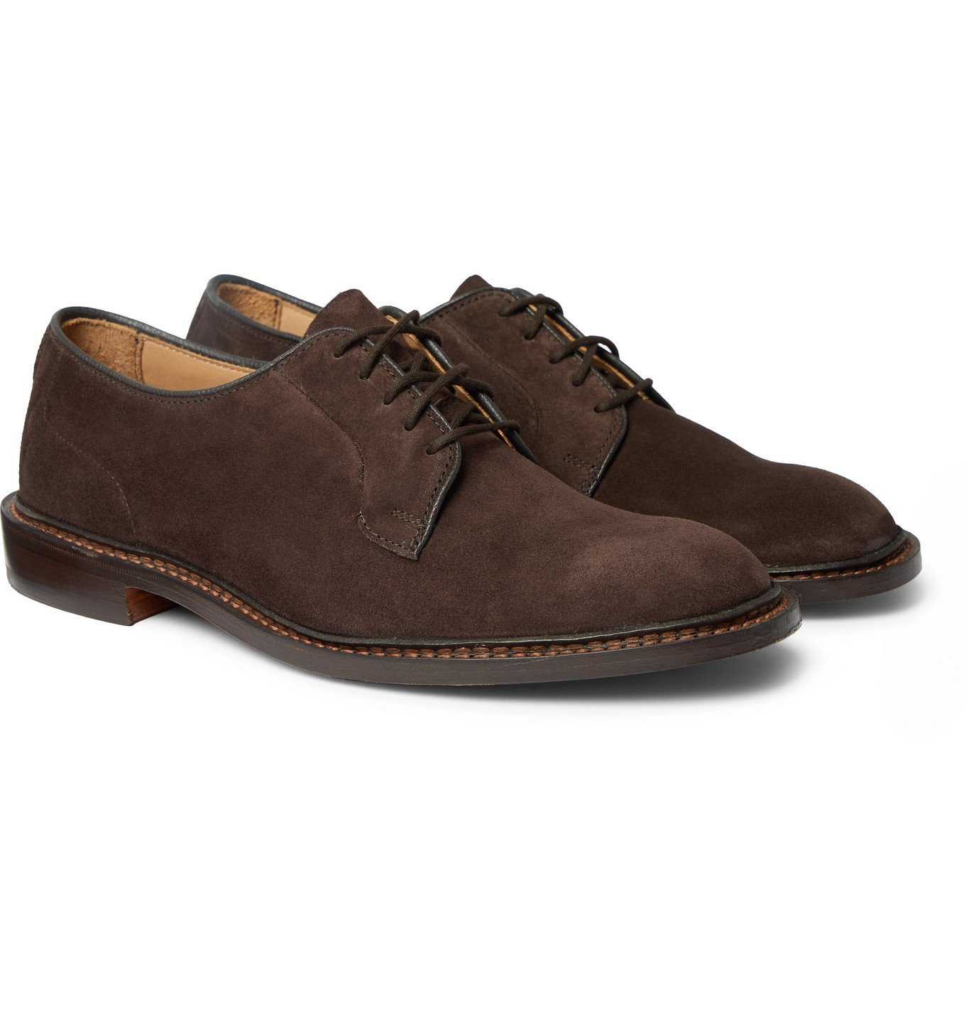 Photo: Tricker's - Robert Suede Derby Shoes - Brown
