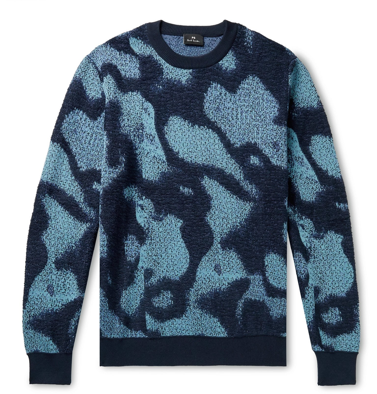 Photo: PS Paul Smith - Heat Map Cotton-Jacquard Sweater - Blue