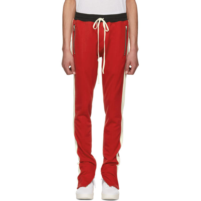 Photo: Fear of God Red and Off-White Knit Track Pants