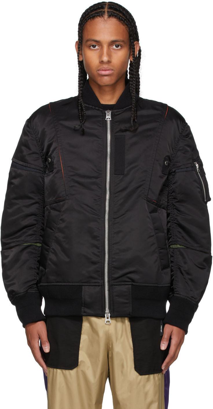 Sacai Black Nylon Twill Bomber Jacket