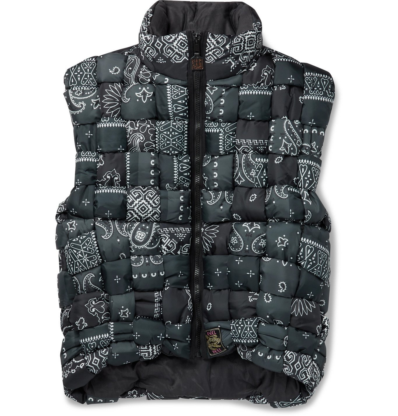 Photo: KAPITAL - Bandana-Print Woven Padded Shell Gilet - Black