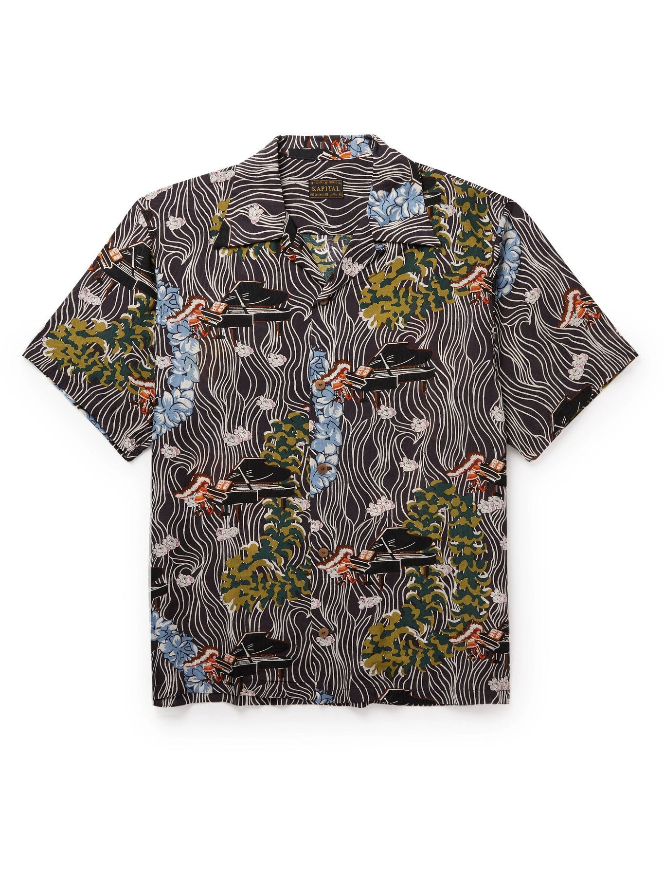 KAPITAL - Convertible-Collar Printed Voile Shirt - Black