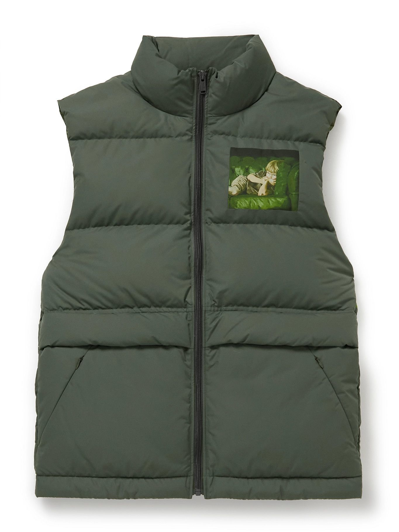 Photo: UNDERCOVER MADSTORE - Markus Akesson Printed Quilted Padded Shell Gilet - Gray